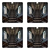 Lunarable Scary Coaster Set of Four, Horror Movie Theme Classic Deserted Abandoned Home with Old Vintage Stairs Artwork, Square Hardboard Gloss Coasters for Drinks, Multicolor