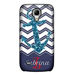 Perzonalized Samsung Galaxy S4 Mini Chevrons Faux Glitter Anchor Navy Phone Case