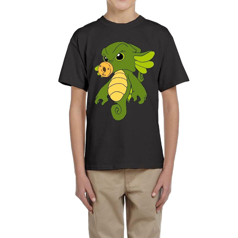 Funny Cartoon Green Seahorse Youth Crewneck Short Sleeve of T-Shirts For Boys