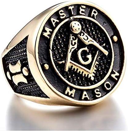 Gold Ion Freemason Master Ring Stainless Steel Mens Mason Ring College Black Masonic Ring Freemason Ring G Fraternity