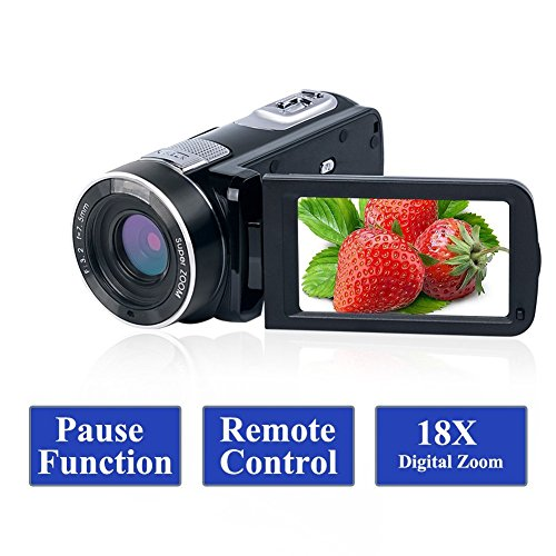 Camcorder Video Camera Full HD 1080p 24.0MP Vlogging Camera 3.0 Inch LCD Screen 18X Digital Zoom Webcam Camcorders with Remote Controller by SUNLEA