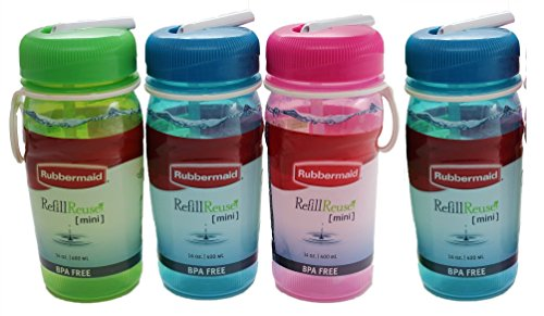 Rubbermaid FG7M4100EDAY1 Refill Reuse 14-ounce Premium Sip Bottle (Pack of 4), Finger Loop for Easier Carrying, Leak-proof Lid Seal, Fit in Standard Cup Holders, BPA Free, Freezer and Dishwasher Safe