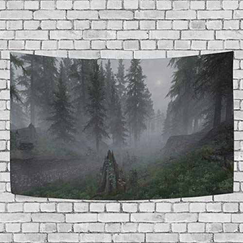 DJROW Misty Forest at Skyrim Nexus Decor Tapestry Wall Hanging for Bedroom Living Room Dorm 60x51(in)
