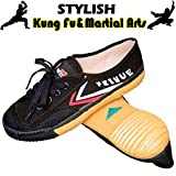 T.O.P ONE Kung Fu Martial Arts Shoes,Rubber Sole Sneakers-Black 46(Men 12|Women 13)