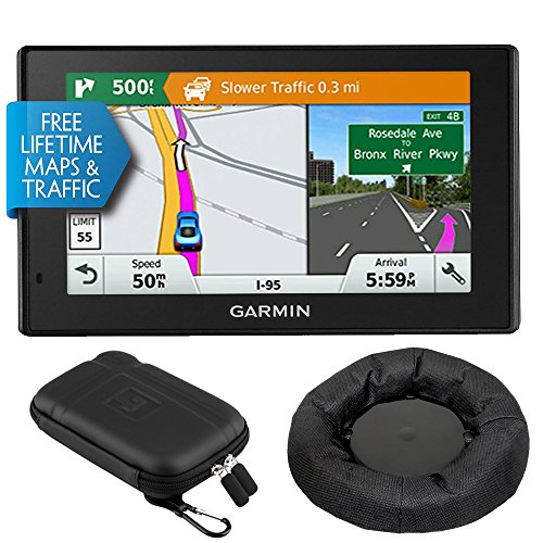Garmin 010-01539-01 DriveSmart 50LMT GPS Navigator with Dash-Mount Bundle - (Certified Refurbished)