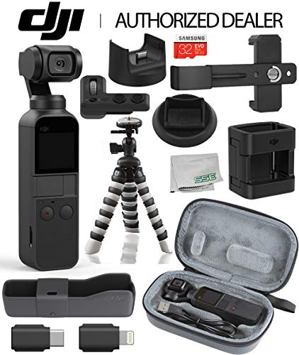 DJI 2019 Osmo Pocket Handheld 3 Axis Gimbal Stabilizer with Integrated Camera Essentials Travel Bundle + DJI Osmo Pocket Expansion Kit