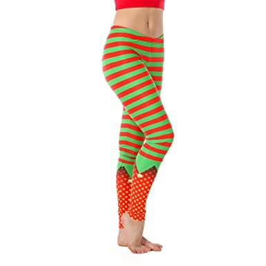 c704b19f1e Alexandra Collection Womens Christmas Holiday Elf Athletic Workout Leggings  Red/Green X-Small