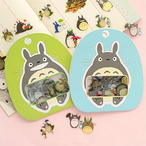 By channeltoys - Lot de 120pcs stickers - Mon voisin Totoro - 2 lot de 60pcs autocollant - vert bleu