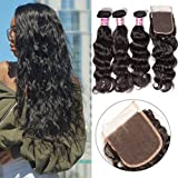 (US) Unice Remy Brazilian Natural Wave Hair 100% Virgin Human Hair 3 Bundles 7A Grade Natural Color (16 18 20+14'' Closure)