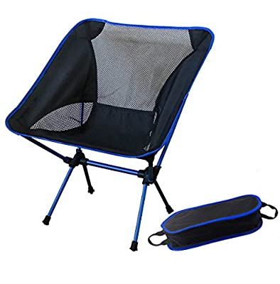 Folding Camping Chair with Carry Bag, Ranger5 Portable Lightweight Aluminum Outdoor Hiking Fishing Furniture Capacity 330lbs (150kg), Blue
