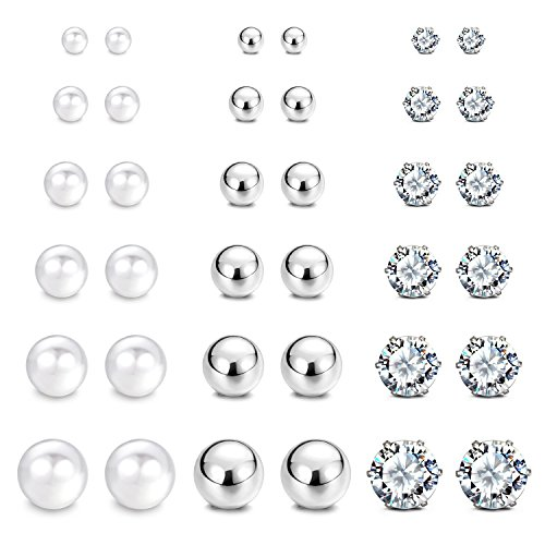 (JewelrieShop Stainless Steel Cubic Zirconia Studs Earrings Round Ball Earrings Faux Pearl Earrings Set Hypoallergenic for Women Girls (8 Pairs / 18 pairs))