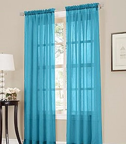 Gorgeous Home 2PC AQUA TURQUOISE BLUE SOLID SOFT VOILE SHEER WINDOW CURTAIN PANELS DRAPES 54″ WIDE X 84″ LONG
