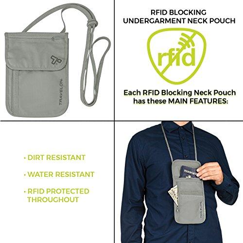 51lfnoIdFHL - Travelon RFID Blocking Undergarment Neck Pouch, Gray