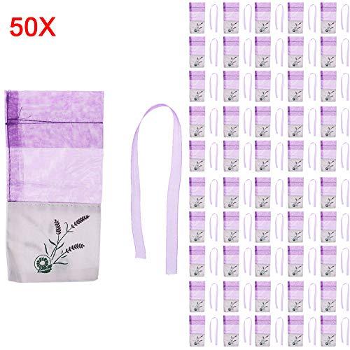 (Hacloser Organza Bags Drawstring Gift Bags Lavender Pattern Empty Gift Wrap Organizer Gauze Bags Potpourri Bags (02#, 50Pcs))