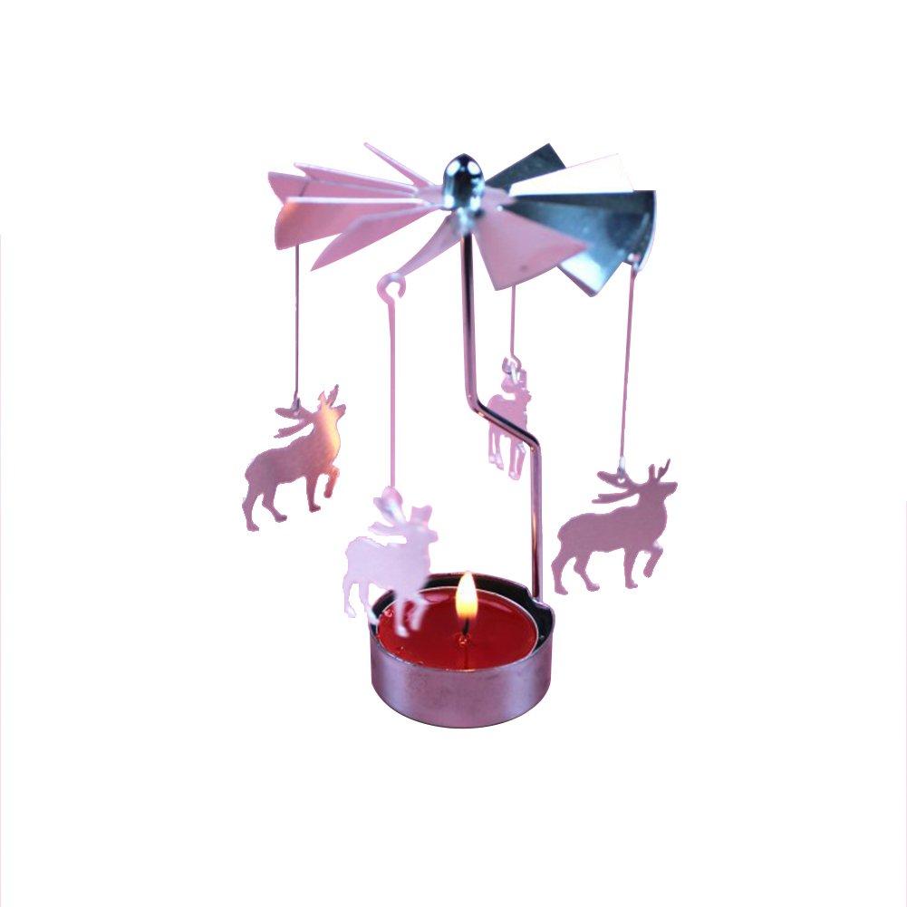 Drawihi Candelabro Navidad Giratoria Carrusel Giratorio T/é Luz Candelabro Centro de Decoraci/ón del Hogar Regalos