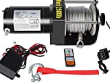 DCFlat 12V 2500LBS Wire Rope Electric Winch for Towing ATV/UTV/Boat Off Road with Mounting Bracket Wireless Remote Control