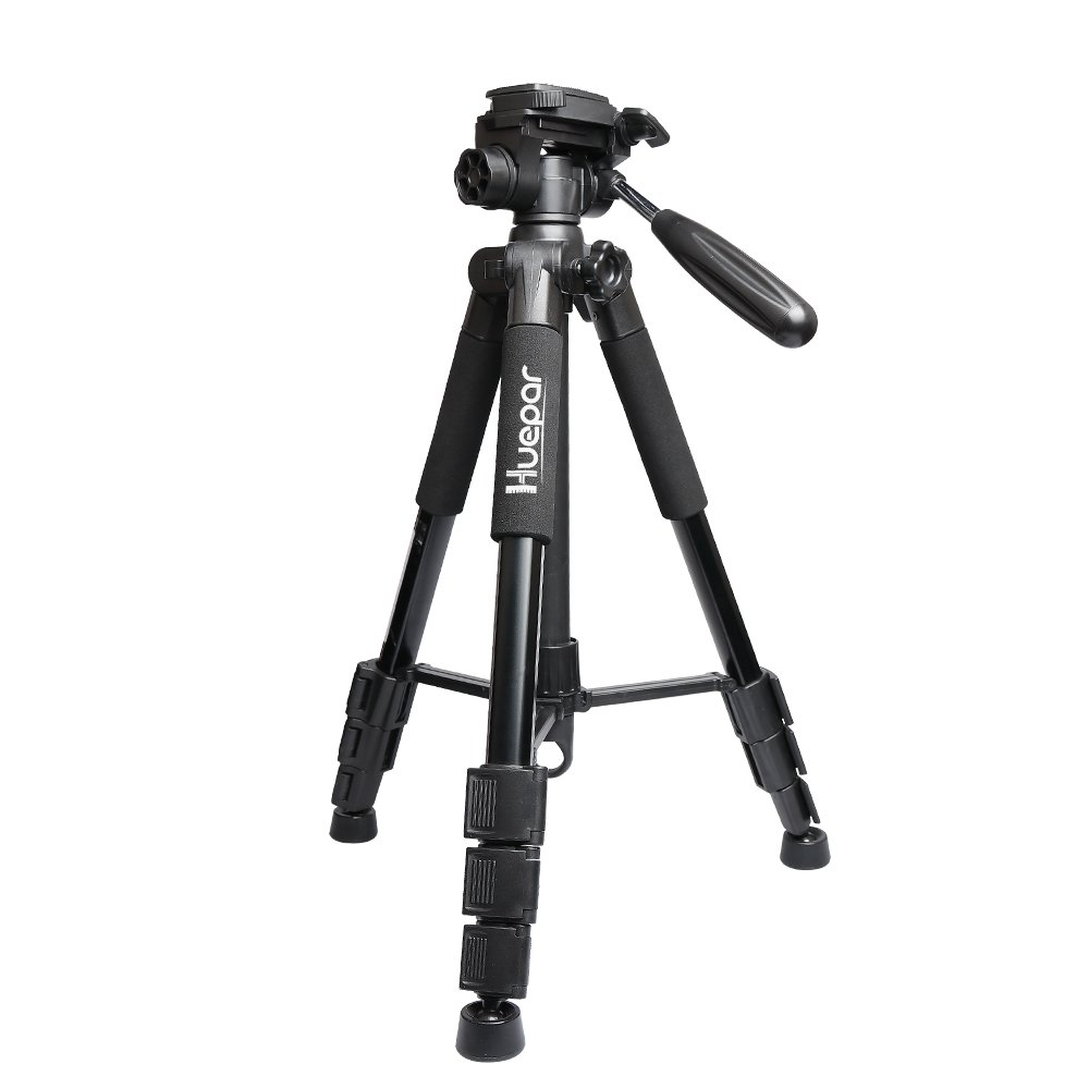 Huepar Lightweight TPD14 56'' Adjustable Laser Level Tripod with 3-Way Swivel Pan Head, Quick Release Plate with 1/4'' Screw Mount, Bubble Level, Multi-function Hook and 5/8'' UNF Adapter Nut