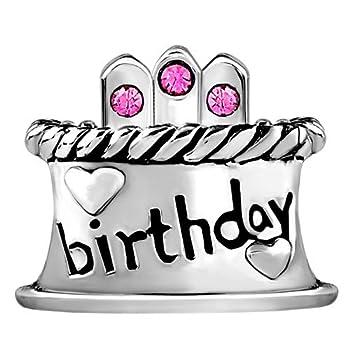 Jan-Dec Birthday Cake Charm Happy Birthday Candle Beads For Bracelets