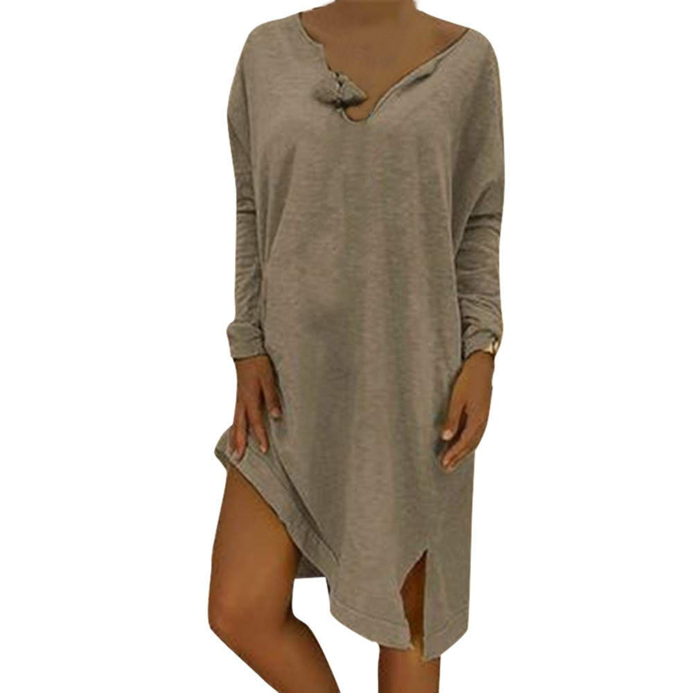 AMSKY Tank Dress,Women Plus Size V-Neck Loose Casual Solid Long Sleeve T-Shirt Dress,Coats, Jackets & Vests,Gray,XXXL