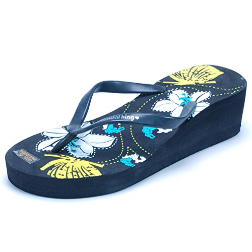 SK Sandals Women's Black Platform Wedge Flip Flops 7 M US
