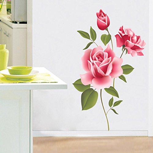 Saingace Wall Sticker, Home Decor Rose Flower Wallpaper Removable Decal DIY Art Decoration