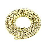 MuLuo Women Men Bling Necklaces Rhinestone Hip Hop Chains Necklaces 20inch 24inch 30inch Gold 24inch