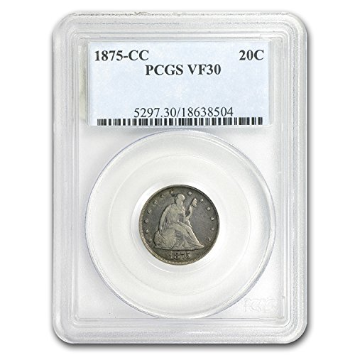 1875 CC Twenty Cent Piece VF-30 PCGS Silver VF-30 PCGS