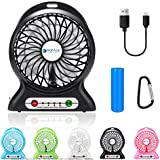 dizauL Portable Fan, mini usb rechargeable fan with 2600mAh Power Bank and Flash light,for Traveling,Fishing,Camping,Hiking,Backpacking,BBQ,Baby Stroller,Picnic,Biking,Boating (Black)