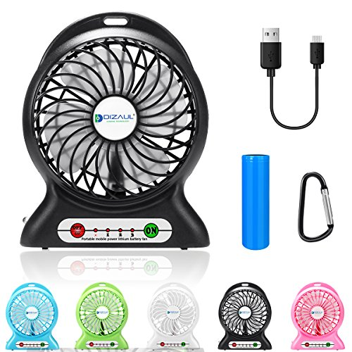 dizauL Portable Fan, mini usb rechargeable fan with 2600mAh Battery Operated and Flash light,for Traveling,Fishing,Camping,Hiking,Backpacking,BBQ,Baby Stroller,Picnic,Biking,Boating (Black)