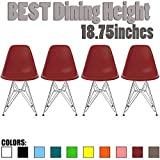 2xhome Set of Four (4) – Plastic Side Chair Chromed Wire Legs Eiffel Legs Dining Room Chair – Lounge Chair No Arm Arms Armless Less Chairs Seats Wire Leg, Red