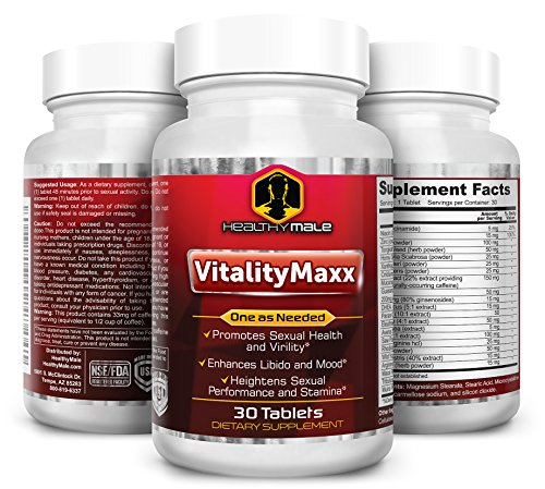 VitalityMaxx – Extra Strength Performance Booster for Men. Herbal Extract Powerful Safe Supplement Tongkat Ali, Horny Goat Weed, Tribulus Terrestris, Increase Libido, Stamina