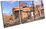 Bold Bloc Design - Fallout 4 Red Rocket Gaming 90x45cm TREBLE Canvas Art Print Box Framed Picture Wall Hanging - Hand Made In The UK - Framed And Ready To Hang