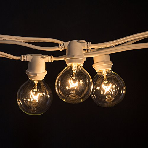 100 Foot C9 Commercial Exterior Globe String Lights with 80 G50 2 Inch Clear Bulbs (White Wire) for Weatherproof Heavy Duty Vintage Outside Lighting by Hometown Evolution, Inc.