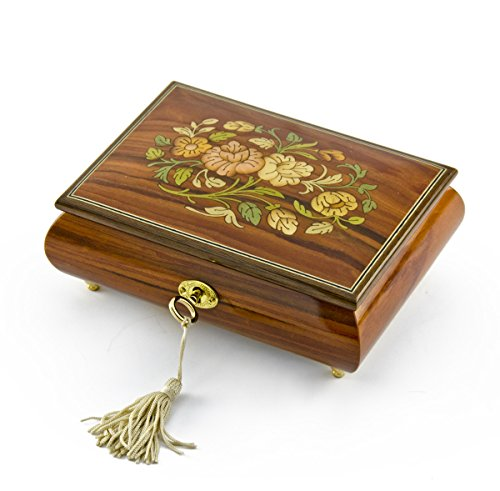 Gorgeous 30 Note Santos Mahogany Floral Inlay Musical Jewelry Box with Lock and Key - Scarborough Fair