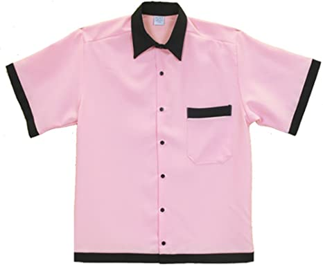 Amazon.com: Retro Bowling Shirt Retro 50's Pink and Black: Clothing