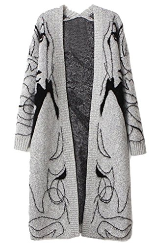 MILEEO Femme pulls gilets Manches chauve-souris manteau lache large long cardigan à modif