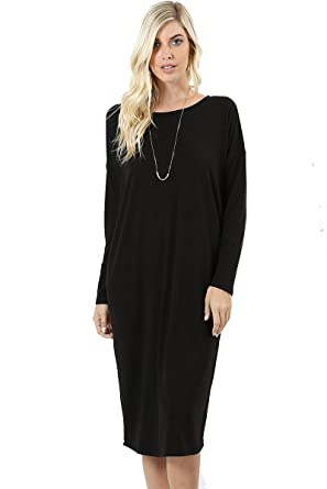 3552396da6a94 JED Women s Comfy Fit Solid Long Sleeve Knee Length Casual Dress at Amazon Women s  Clothing store