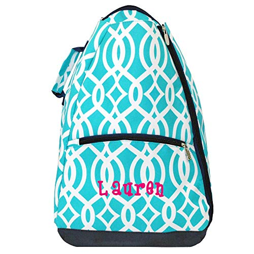 LD Bags Personalized Tennis Racket Backpack Two Racquet Bag (Turquoise Vine)
