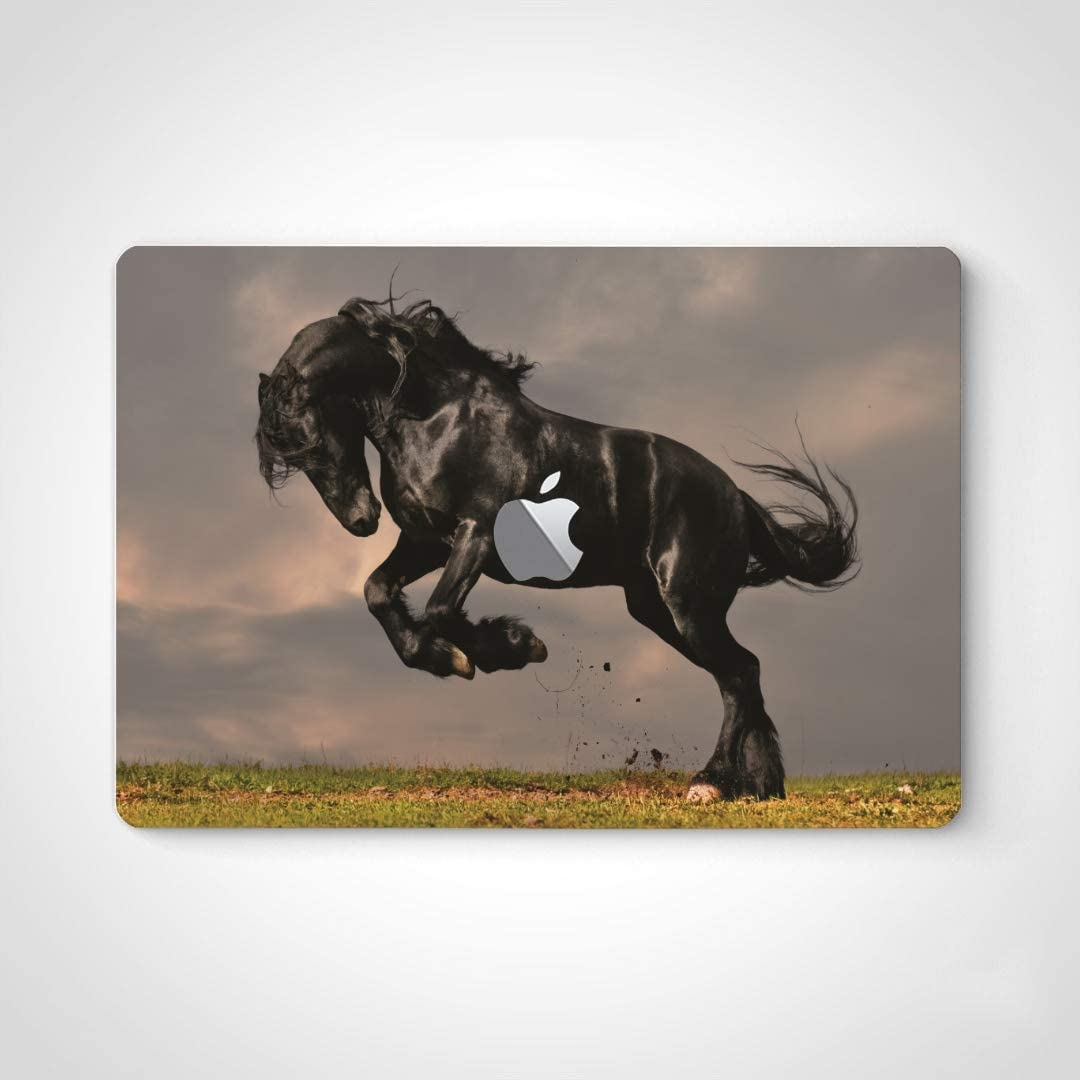 Vinyl Sticker Decals for Laptop Black Friesian Stallion Horse in Sunset Laptop Stickers Decals for MacBook Air 13
