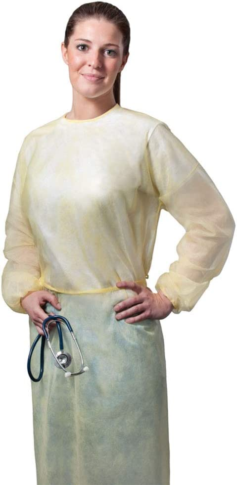 Fluid-Resistant 50, X-Large Tronex Disposable Spunbond Yellow Isolation Gowns With Elastic Cuffs