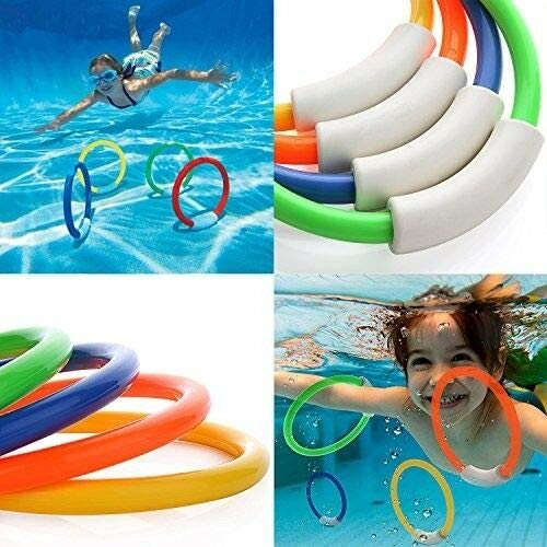 FidgetGear Pool Toy 4Pcs Dive Ring Swimming Kids Diving Rings Set Outdoor Plastic Game Kid Show One Size by FidgetGear