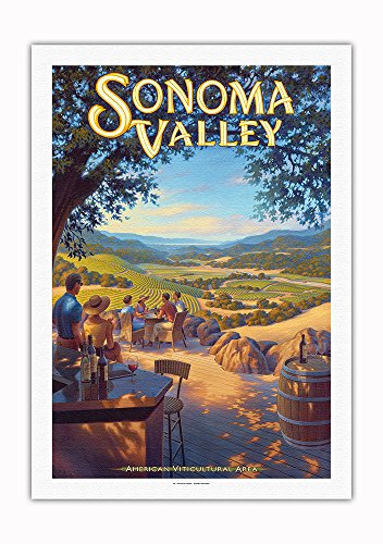 Pacifica Island Art - Sonoma Valley Wineries - Kunde Family Estate - North Coast AVA Vineyards - California Wine Country Art by Kerne Erickson - Fine Art Rolled Canvas Print - 27in x 40in ()