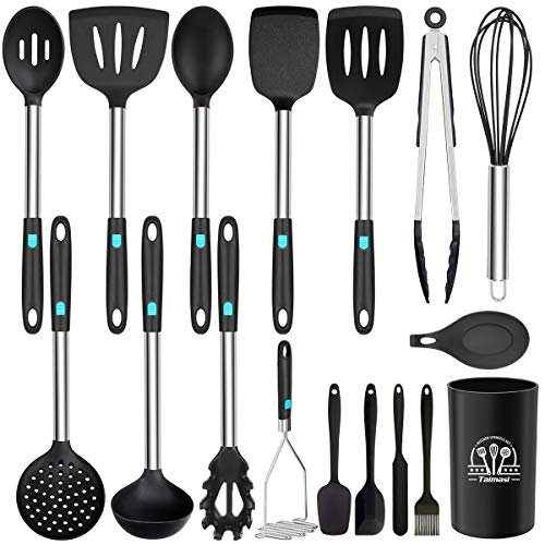 Silicone Cooking Utensils Set, 17Pcs Kitchen Utensils Set, Heat Resistant Non-stick BPA Free Silicone Cookware with…