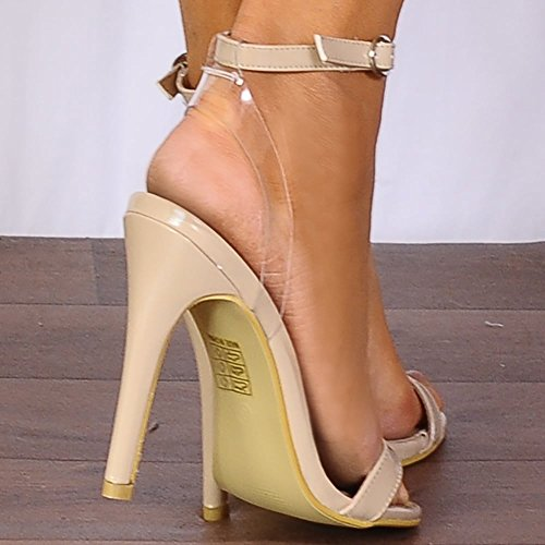 Shoe Closet Ladies Nude Patent Barely There Stilettos Peep Toes Strappy Sandals High Heels d9O9OR8I