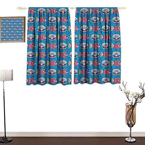 Room Darkening Curtains Bubbles Backdrop with Scallops and Swimming Fishes Horizontal Design Tropic Cartoon Blackout Drapes for Bedroom W63 x L45 ()