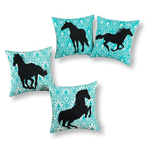 CaliTime Set of 4 Soft Canvas Throw Pillow Covers Cases for Couch Sofa Home Decoration 18 X 18 inches Black Horse with Turquoise Geometric Pattern (Horse Couch Pillows)