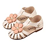 lakiolins Toddler Girls Flowers T-Strap Hollow Closed Toe Flat Sandals Princess Dress Shoe White Size 22