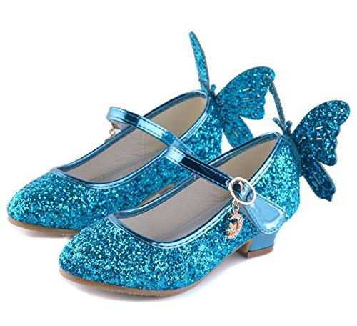 Fancyww Girls Wedding Cosplay Princess Shoes Sparkling,Crystal Low Heel Dress Shoes(Blue-34/2.5 M US Little Kid) ()