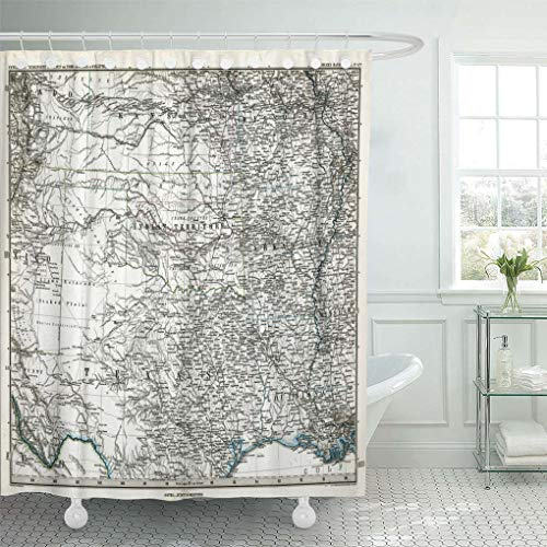 """Emvency Waterproof Fabric Shower Curtain Hooks Old 1872 Antique Stieler Map of South Central United States Texas Vintage Extra Long 72""""X96"""" Bathroom Odorless Eco Friendly"""