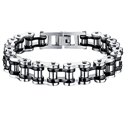 TENGYI Masculine Mens Two-tone Polished Stainless Steel Motorcycle Biker Chain Bracelet, (Men Gold Over Silver Chain)